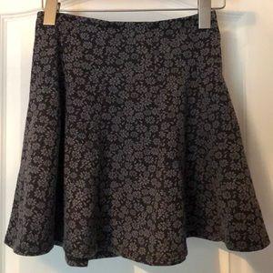 NWT Hollister Floral Print Skater Skirt Black Grey
